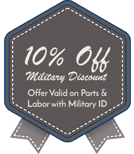 10% Off Military Discount, Offer Valid on Parts & Labor with Military ID